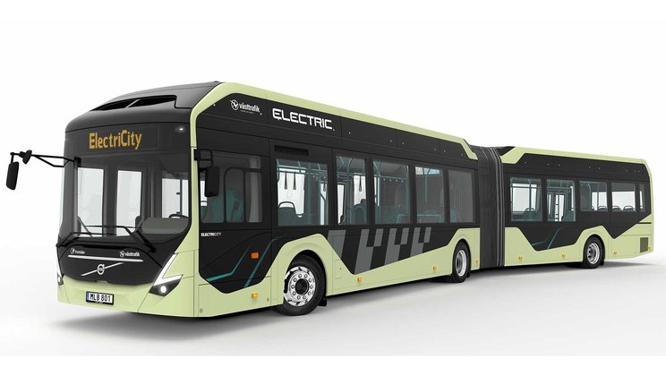 Electric articulated buses being tested in Gothenburg, Sweden
