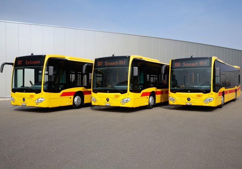 Neun Citaro-Solobusse nach Abgasstufe Euro VI in der Schweiz an BLT Baselland Transport AG übergeben